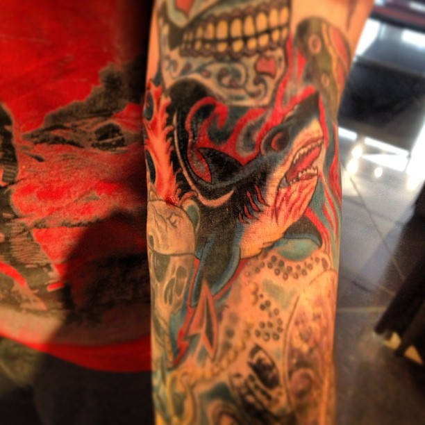 Shark sleeve tattoo